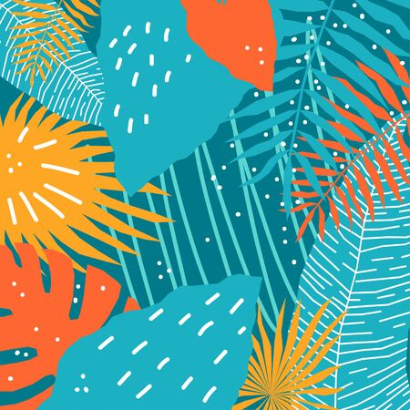 Abstract tropical plant background. Hand drawn plant cover template for birthday card, summer party invitation, seasonal sale, modern art gallary advertising, t shirt picture or bag print etc.