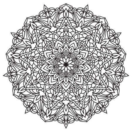 Hand drawn monochrome oriental ornamental lace round mandala for use in design t-shirt, vintage card, party invitation, poster, brochures, gift album, henna tattoo, scrapbook cover or pages