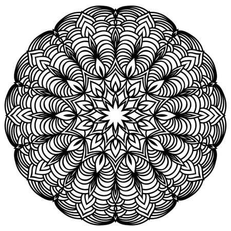 Hand drawn monochrome oriental ornamental lace round mandala for use in design t-shirt, vintage card, party invitation, poster, brochures, gift album, henna tattoo, scrapbook cover or pages Ilustración de vector