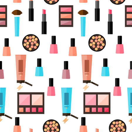 Flat cosmetic seamless pattern background. Bright cosmetic product isolated on white cover. Abstract cartoon cosmetic elements for design card, poster, brochures, textile fabric, garment etc.