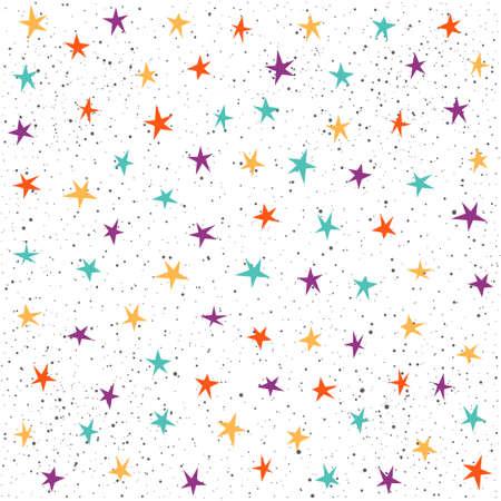 Abstract star pattern background. Bright irregular childish illustration for design card, invitation, t shirt, album, textile fabric, garment, bag, scrapbook, poster, banner etc Illustration