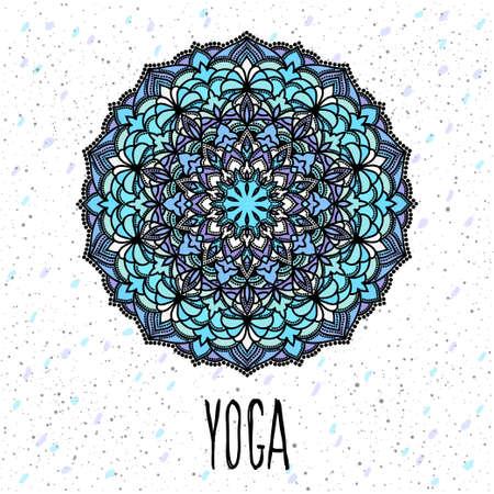 Yoga card template. Hand drawn oriental ornamental ethnic lace round mandala for t shirt design, vintage card, party invitation, yoga poster, brochures, gift album, scrapbook etc