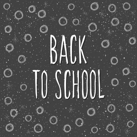 Back to school. Hand drawn lettering and doodle chalk elements on classroom chalkboard for design card, school poster, childish t shirt, autumn banner, scrapbook, album, school wallpaper etc Vettoriali