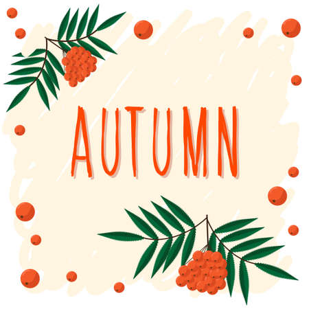 Autumn. Hand drawn lettering and autumn rowan for design card, school poster, childish t shirt, autumn banner, scrapbook, album, school wallpaper etc Vettoriali