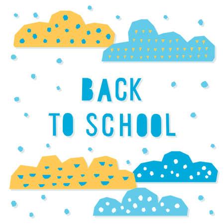 Back to school. Hand drawn lettering and handmade hildish applique elements for design card, school poster, childish t shirt, autumn banner, scrapbook, album, school wallpaper etc Vettoriali