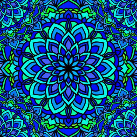 Hand drawn oriental ornamental ethnic lace card background for t shirt design, vintage card, party invitation, yoga poster, fashion neckerchief, scarf, brochures, gift album, scrapbook etc Vektorové ilustrace
