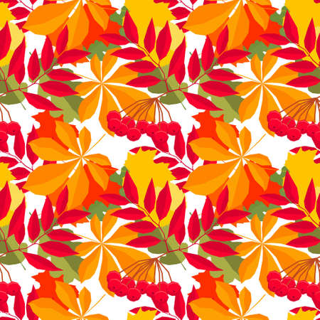 Autumn time seamless pattern background. Handmade red, orange, yellow autumn leafs isolated on white cover for design card, invitation, school album, skrapbook, textile fabric etc