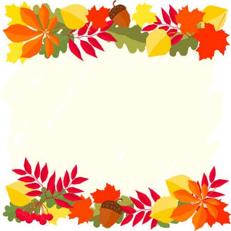 Autumn time card template for design card, school poster, childish t shirt, autumn banner, scrapbook, album, school wallpaper etc