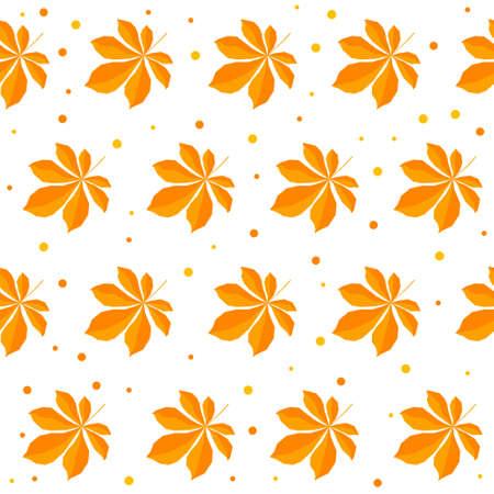 Autumn time seamless pattern background. Handmade orange autumn leafs isolated on white cover for design card, invitation, album, skrapbook, textile fabric etc