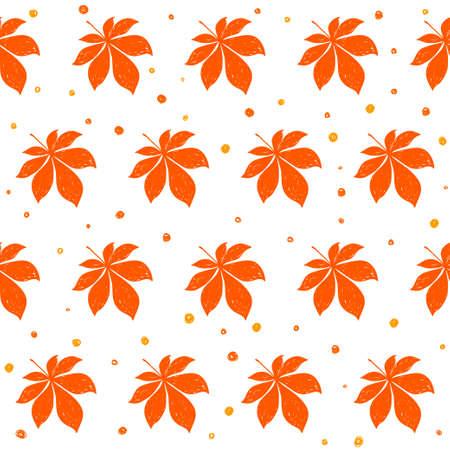 Autumn time seamless pattern background. Handmade doodle orange autumn leafs isolated on white cover for design card, invitation, album, skrapbook, textile fabric etc