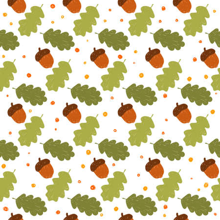 Acorn seamless pattern background. Handmade doodle acorn and oak leafs isolated on white cover for design card, invitation, album, skrapbook, textile fabric etc