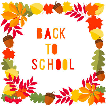 Back to school. Hand drawn lettering and autumn time leaves for design card, school poster, childish t shirt, autumn banner, scrapbook, album, school wallpaper etc Vettoriali
