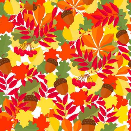 Autumn time seamless pattern background. Handmade red, orange, yellow autumn leafs isolated on white cover for design card, invitation, school album, scrapbook, textile fabric etc Illustration