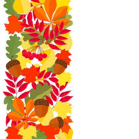 Autumn time pattern background. Handmade red, orange, yellow autumn leafs isolated on white cover for design card, invitation, school album, scrapbook, textile fabric etc Illustration
