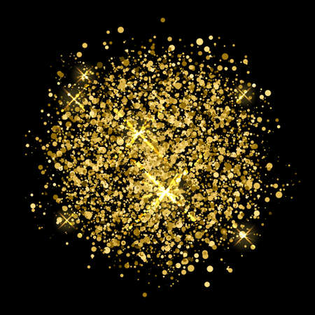 Motley gold sprayed circle abstract pattern background. Festive decor for design christmas card, modern pop party invitation, t shirt, new year poster, wedding flyer, bridal album, scrapbook etc.