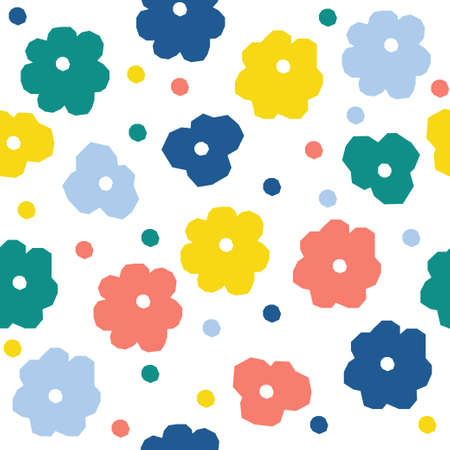 Abstract flower seamless pattern background. Childish simple abstract paint for design card, wallpaper, album, scrapbook, holiday wrapping paper, textile fabric, bag print, t shirt etc.