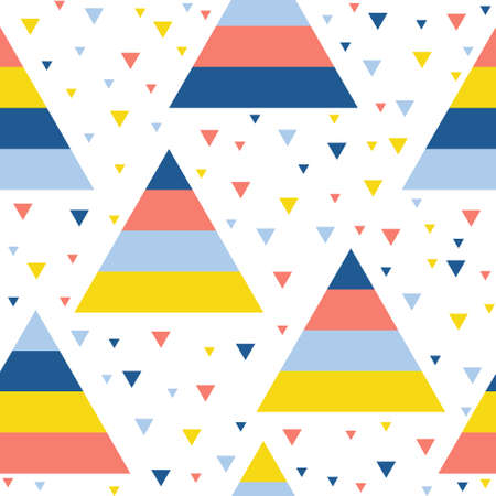 Abstract handmade triangle seamless pattern background. Childish handcrafted wallpaper for design card, wallpaper, baby nappy, holiday wrapping paper, textile fabric, bag print, diaper, t shirt etc. Vektorové ilustrace