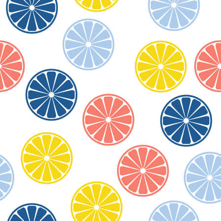 Abstract handmade citrus rounds seamless pattern background. Childish handcrafted wallpaper for design card, baby nappy, diaper, cafe menu, holiday wrapping paper, bag print, t shirt etc. Ilustración de vector