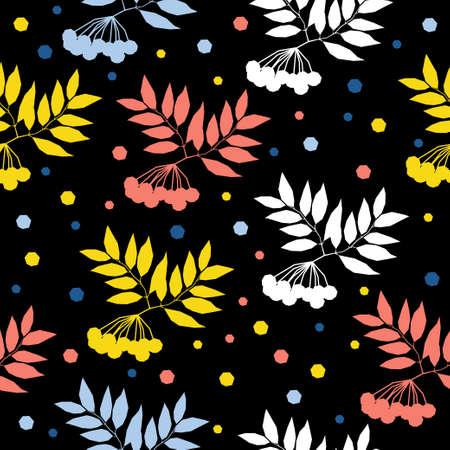 Abstract rowan seamless pattern background. Childish handmade crafted cover for design card, wallpaper, album, scrapbook, holiday wrapping paper, textile fabric, bag print, t shirt etc.