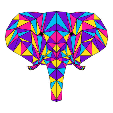 Abstract polygonal elephant portrait. Modern low poly elephant head isolated on white for card, veterinarian clinic placard, modern party invitation, book, poster, bag print, t shirt etc.