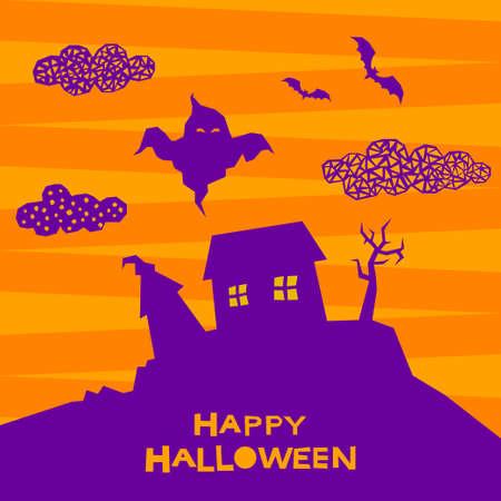 Halloween pumpkin pattern background. Abstract halloween orange pumpkin in hat isolated on purple cover. Handmade geometric halloween pumpkin pattern for design card, invitation, menu etc. 스톡 콘텐츠 - 154323252
