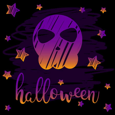 Halloween skull card. Abstract orange and purple gradient colored handwritten halloween letters, skull and stars isolated on black cove for design halloween card, invitation, menu, album etc.