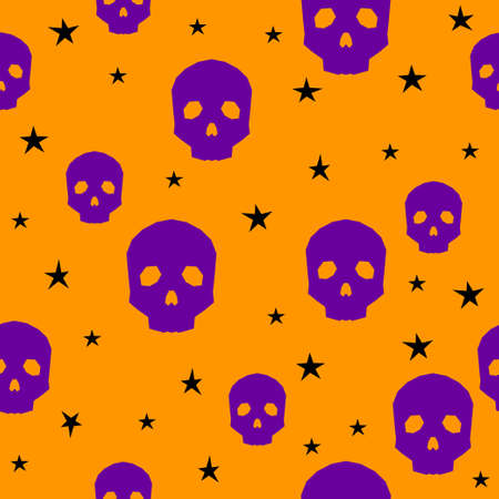 Halloween owl card background. Abstract halloween purple owl isolated on orange cover.