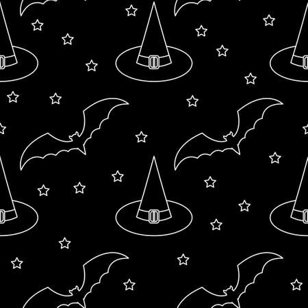 Halloween monochrome seamless pattern background. Abstract black and white halloween pattern for design card, party invitation, poster, album, menu, t shirt, bag print etc.