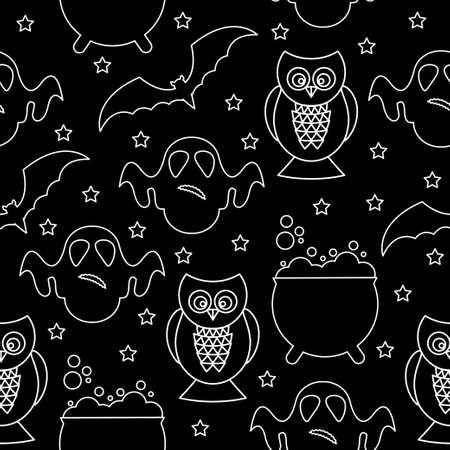 Halloween monochrome pattern background. Abstract black and white halloween pattern for design card, party invitation, poster, album, menu, t shirt, bag print etc.