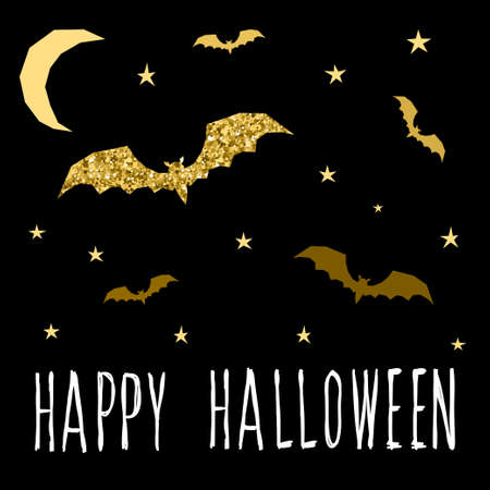 Happy halloween card template. Abstract halloween bat and star pattern with handwritten halloween quote for design card, party invitation, poster, album, menu, t shirt, bag print etc. Gold texture.