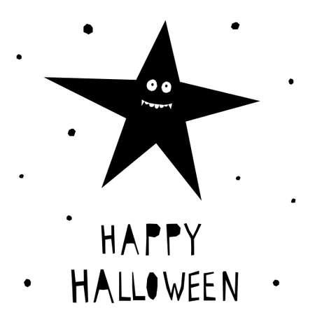 Abstract happy halloween pattern background. Modern childish paper cut halloween art for design card, halloween party invitation, menu, autumn holiday shop sale, bag print, t shirt etc. Иллюстрация