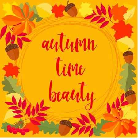 Autumn. Hand drawn lettering and autumn time leaves for design card, school poster, childish t shirt, autumn banner, scrapbook, album, school wallpaper etc