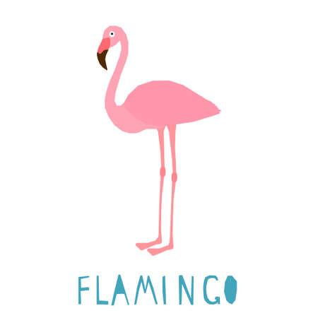Funny flamingo. Handmade childish crafted flamingo bird for design school party advertising, kids gift card, bag print, school wallpaper, education school advertising etc.