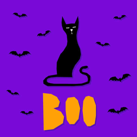 Abstract happy halloween pattern background. Modern childish halloween art for design card, halloween party invitation, menu, autumn holiday shop sale, bag print, t shirt etc. Иллюстрация