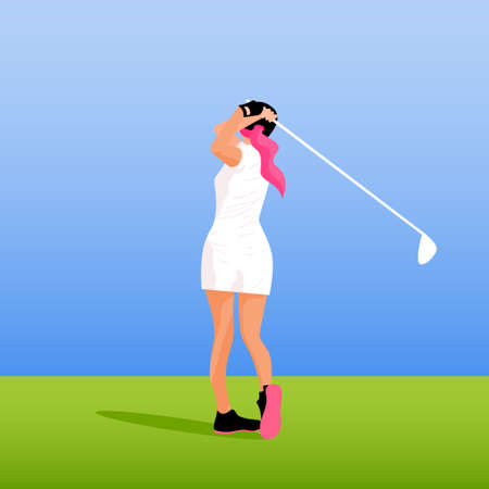 Abstract cartoon girl play golf. Golfer girl card template background for design birthday gift card, sport game party invitation, shop sale, bag or sport club t-shirt print etc.