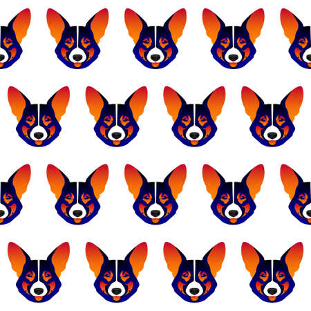 Abstract welshcorgi dog head isolated on white. Graphic cartoon corgi dog portrait painted in imaginary colors.