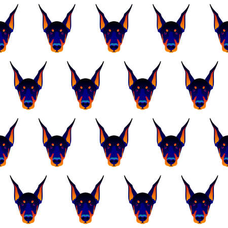 Abstract doberman dog head seamless pattern background. Graphic cartoon doberman dog portrait painted in imaginary colors. Imagens
