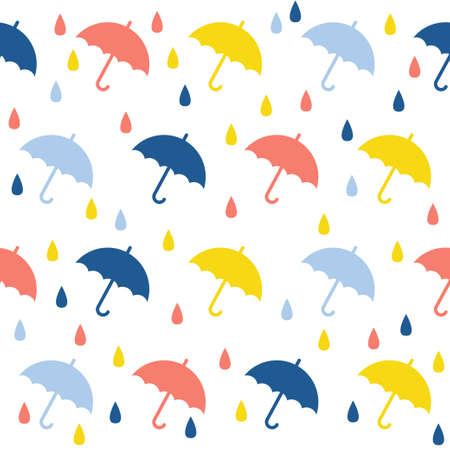 Abstract handmade umbrella and drop seamless pattern background. Childish handcrafted wallpaper for design card, baby nappy, diaper, scrapbook, holiday wrapping paper, textile, bag print, t shirt etc. Vektorové ilustrace