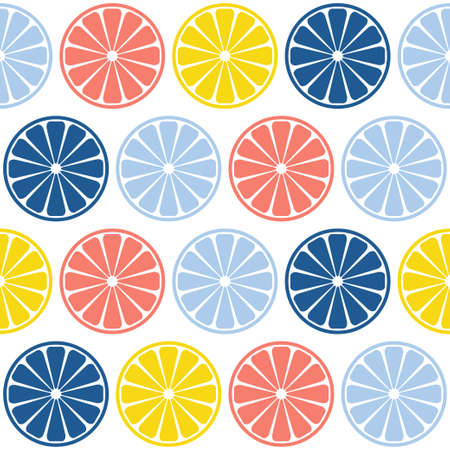 Abstract handmade citrus rounds seamless pattern background. Childish handcrafted wallpaper for design card, baby nappy, diaper, cafe menu, holiday wrapping paper, bag print, t shirt etc.