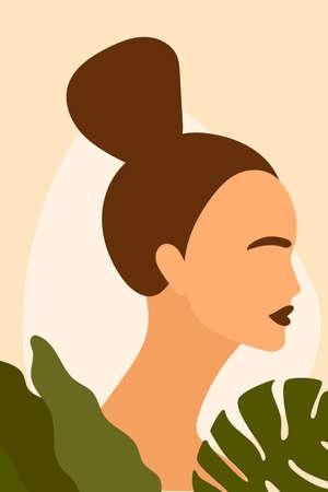 Teen Girl Face. Abstract Minimalist Boho Portrait For Teenage Girl Bedroom Wall Art Decor, Girls Party T-shirt Print etc, Shop Poster etc.