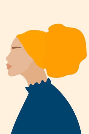 Teen Girl Face. Abstract Minimalist Boho Portrait For Teenage Girl Bedroom Wall Art Decor, Girls Party T-shirt Print etc, Shop Poster etc. Vecteurs