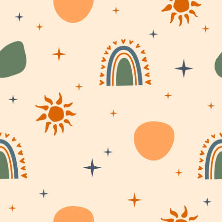 Seamless pattern background. Sunny summer pattern for design wrapping paper, wallpaper, fabric, kid closes textile etc.