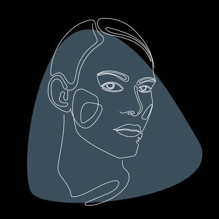 Woman lineart portrait pattern background. Line drown artwork for beauty shop poster, cosmetology center card, t shirt peint, girl's party flyer etc.