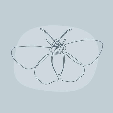 Butterfly lene art pattern background. Simple minimalist batterfly portrait for greeting card, highlight template, nurseru decor print etc.
