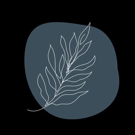 Plant line artwork illustration. Contemporary lineart plant pattern for design for design modern card, invitation, poster, t-shirt print etc.