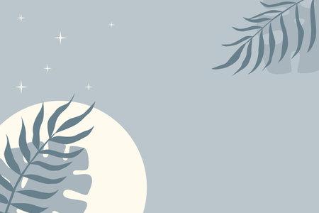 Tropical leaf plant pattern background. Blue colored illustration for design party invitation, shop poster, summer tuorism flyer etc Vektorové ilustrace