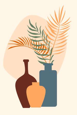 Plant in vase pattern background, Boho minimalist vase illustration for design nursery wall decor, t shirt print, shop flyer, contemporary poster etc.