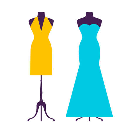 Dress cartoon flat silhouette pattern background for use in design Vettoriali