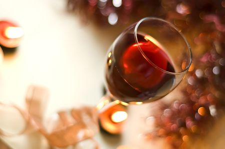 red holiday wine Stock Photo