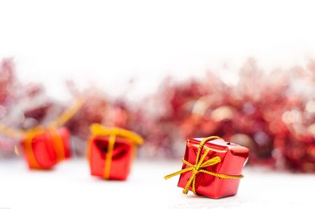 Christmas gifts isolated on white with garlands Stock Photo - 5624247